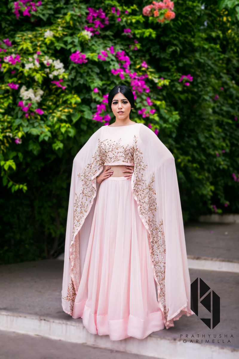 baby pink lehenga with gold work
