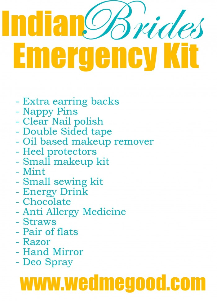 What to put in Your Bridal Emergency Kit ? | WedMeGood