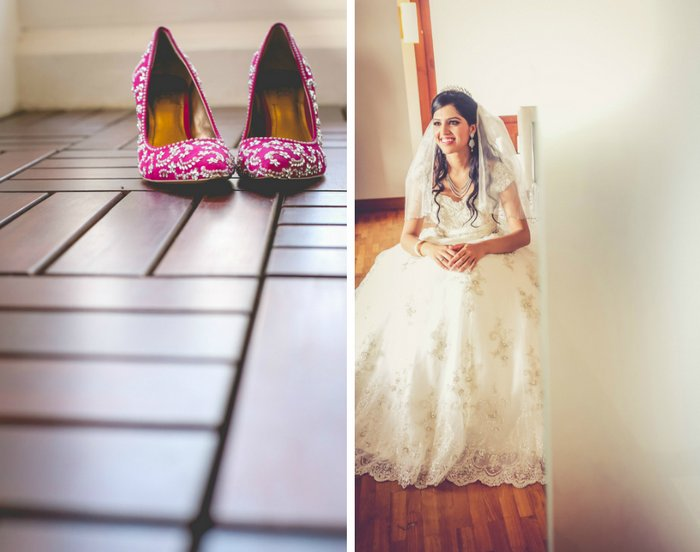 Wedding Dress  Ping In Kerala : White wedding with a pop of magenta in kerala wedmegood