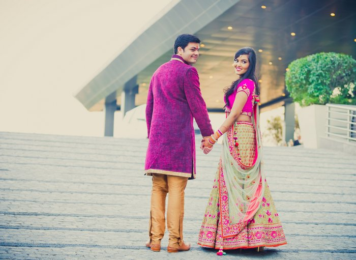 83938eb739 Hot pink and gold Engagement in Delhi   WedMeGood