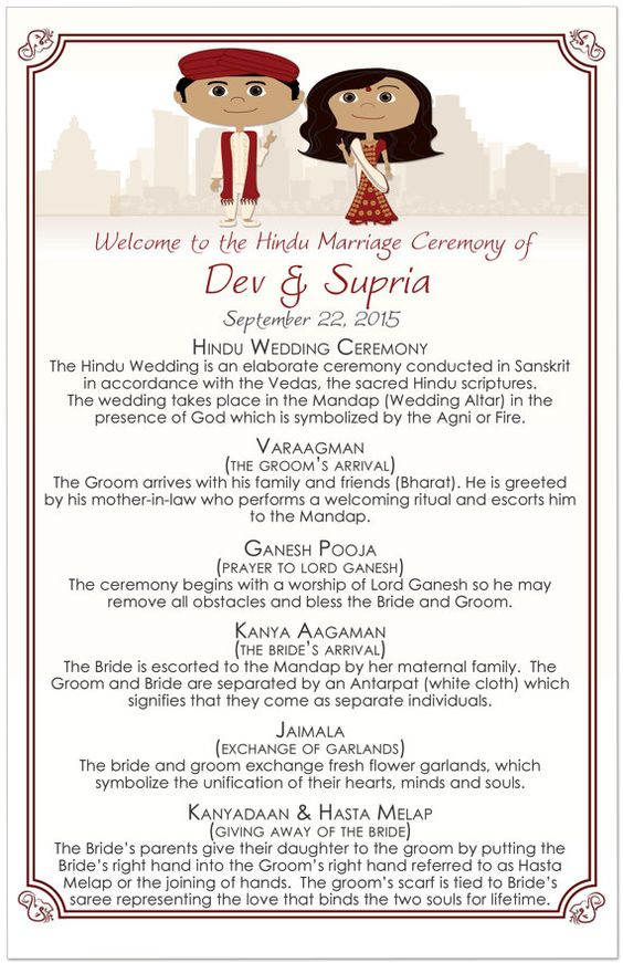 wedding blessing order of service template - trending sweet program sheets and itineraries for indian