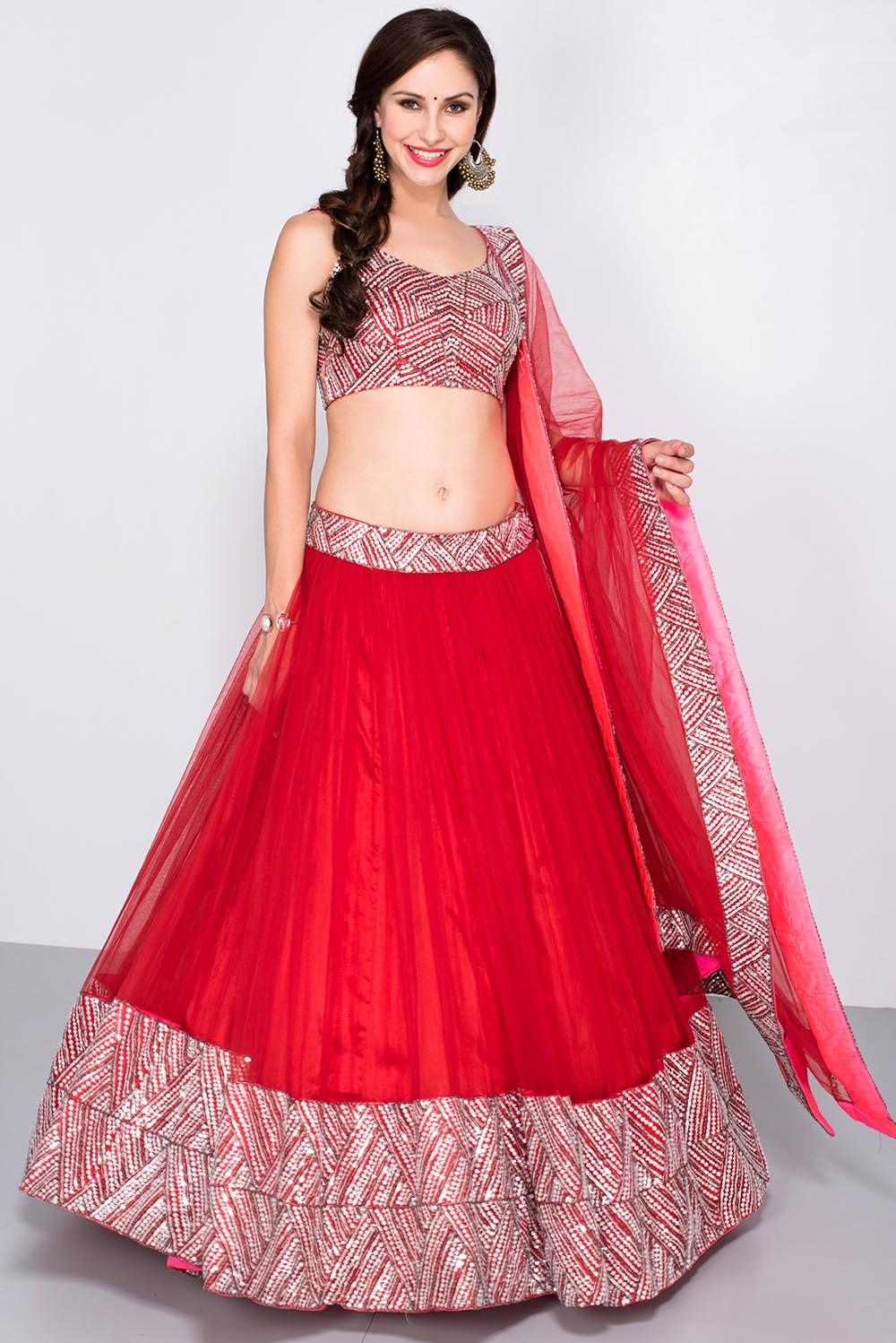 Cant Give Up Your Love For Lehengas This Red Sequin Lehenga By Mahima Mahajan Set Will Make Sure That You Shine Like A Star On The Stage