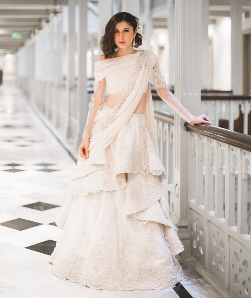 Youtuber Sherry Shroff Just Wore The Prettiest Indo Western Lehenga On Her Wedding Wedmegood