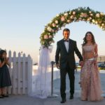 Santorini Destination Wedding With A Touch Of Pale Pink!