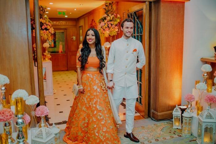 Beautiful Peachy Orange Engagement In Delhi !