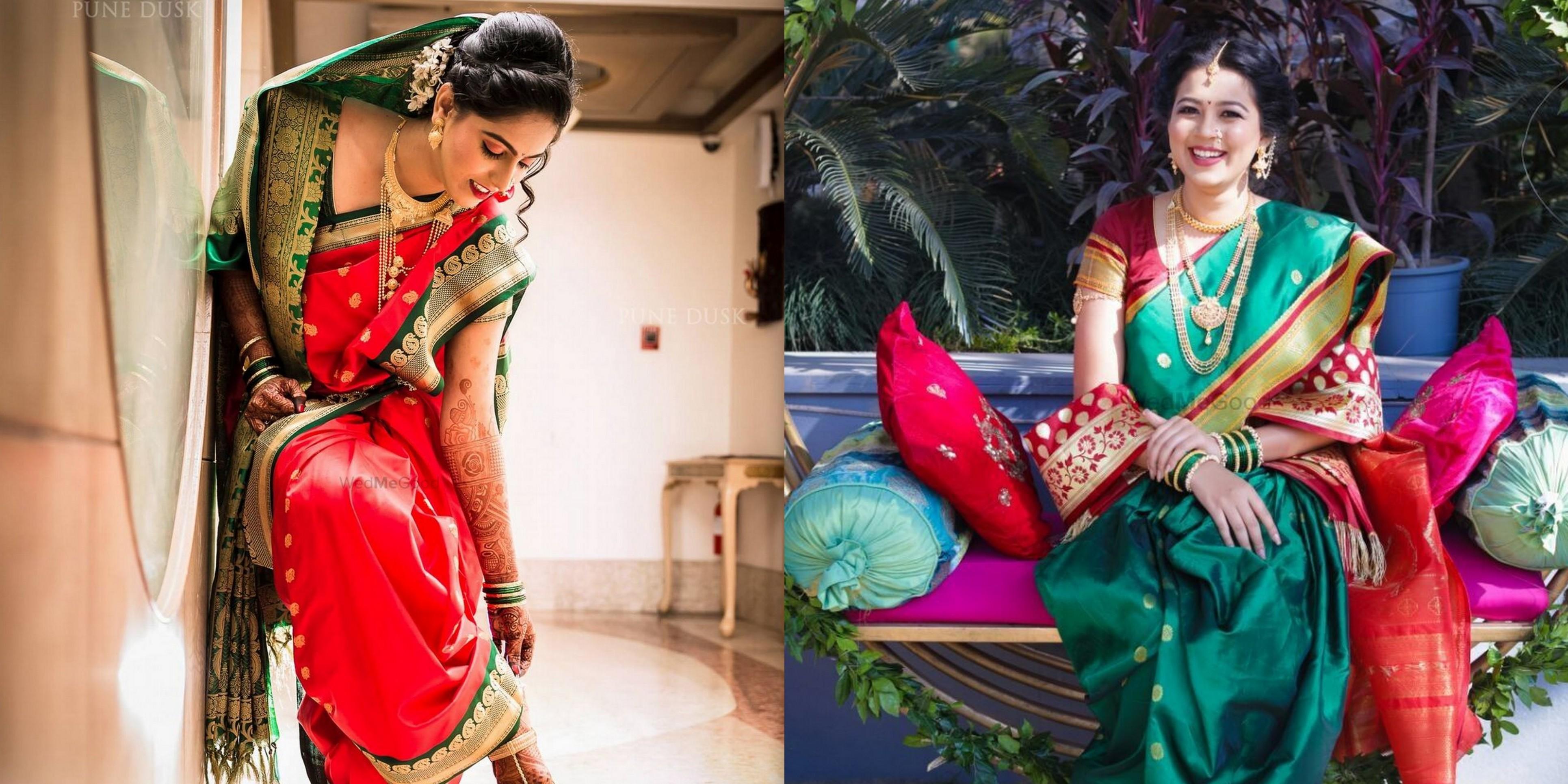 20 Most Beautiful Nauvari Sarees On Maharashtrian Brides Wedmegood